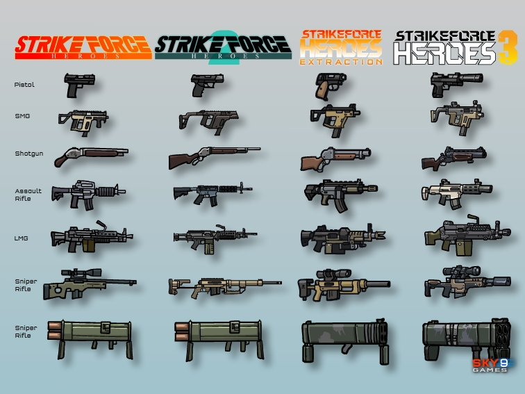 The guns became more and more detailed as the series went on.