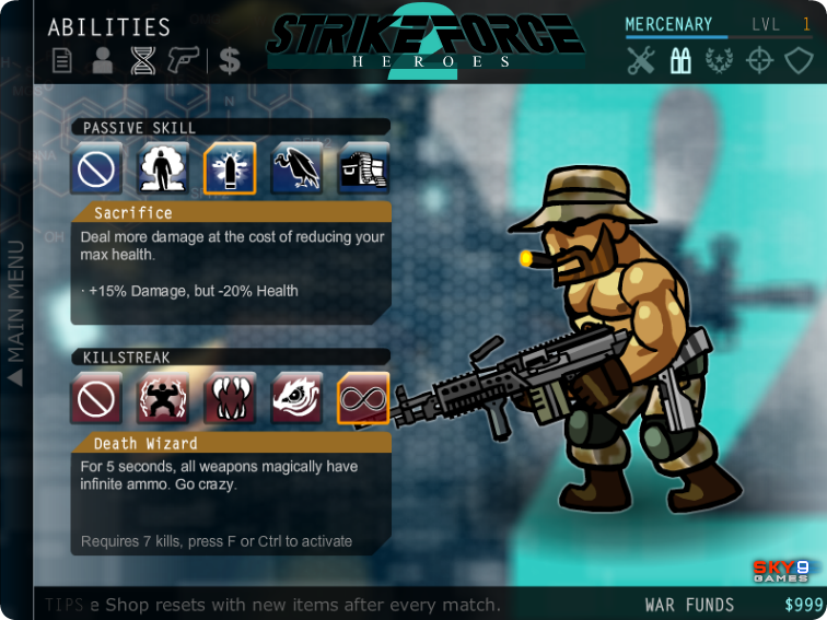 Abilities in strike force heroes 1